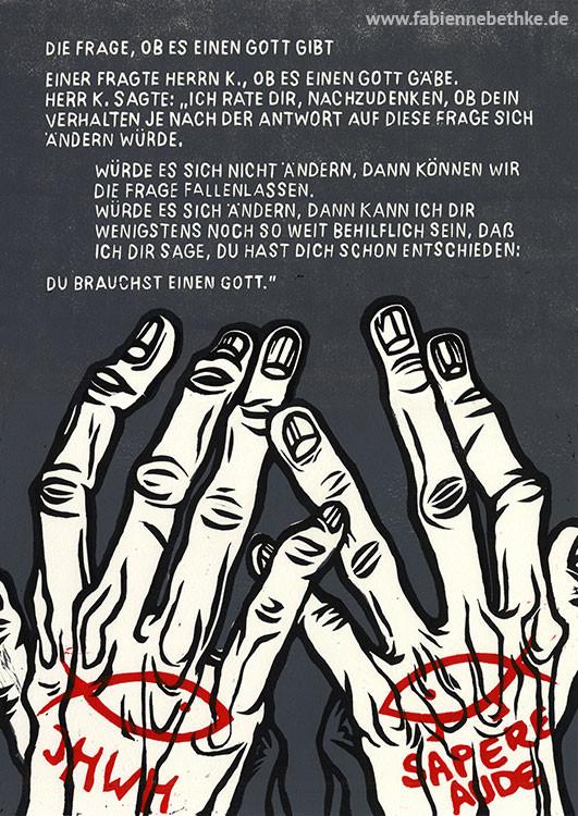 Brechts Geschichten vom Herrn Keuner: Die Frage, ob es einen Gott gibt (Linolschnitt, Bütten)