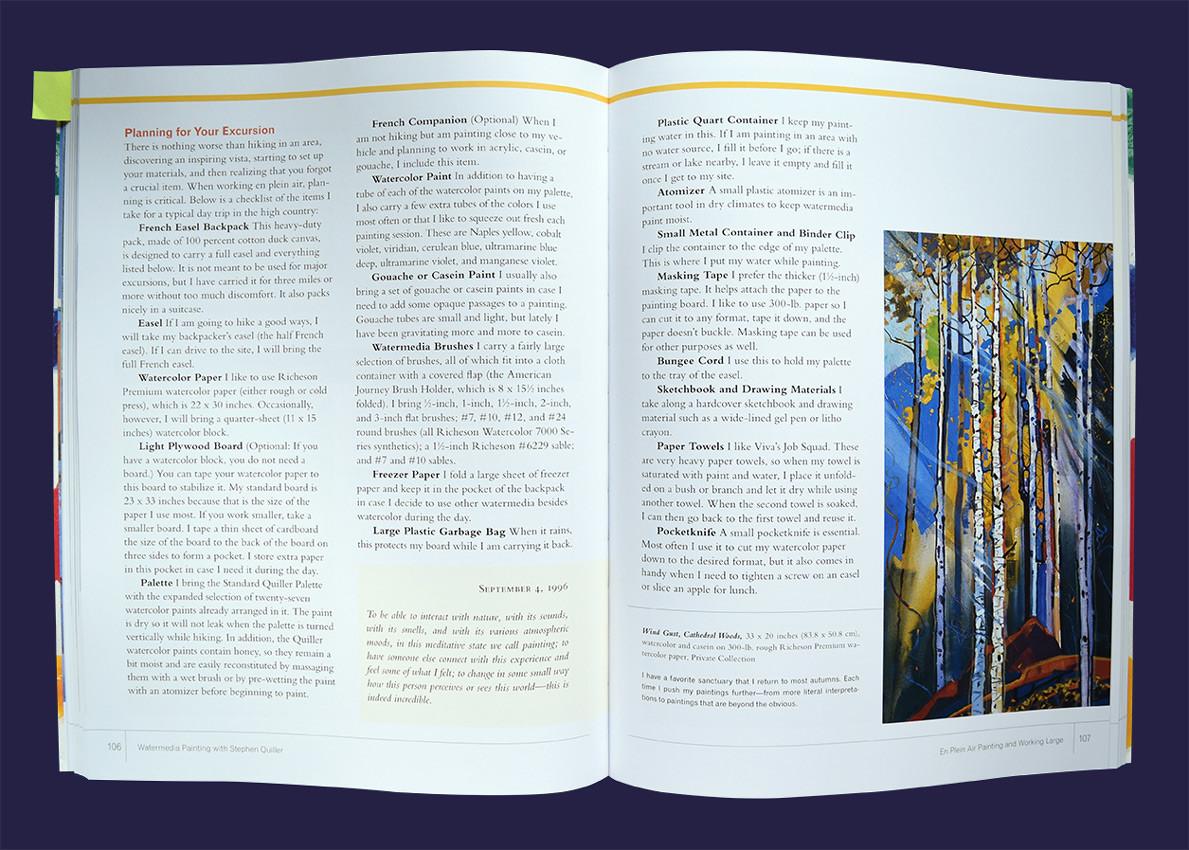 """""""Watermedia Painting with Stephen Quiller"""", Kapitel 5: En Plein Air Painting, S. 106/107"""