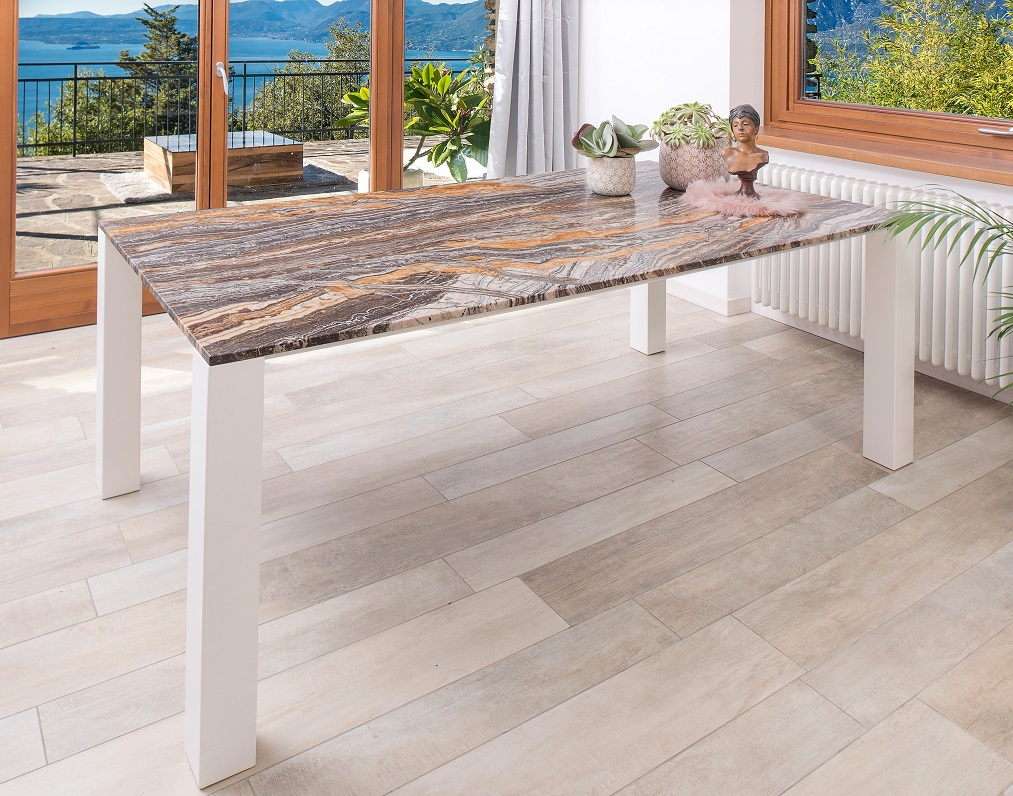 Pure Natural Canyon Onyx table top with white powder coated steel structure