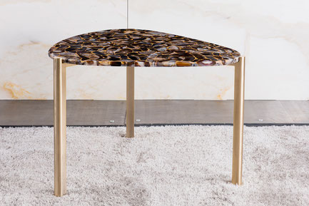 Luxury side table with precious stone