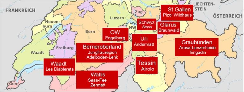 Skigebiete Schweiz Karte