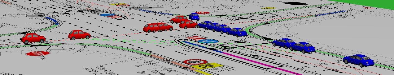 Annäherung beider PKW an die Unfallstelle