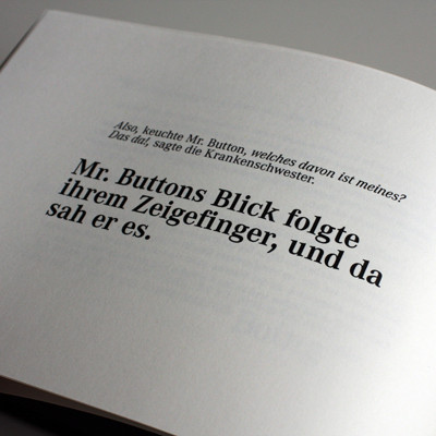 Inszenierte Typografie Benjamin Button