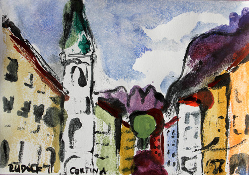 Dolomiti - Cortina, 13 x 18, Aquarell