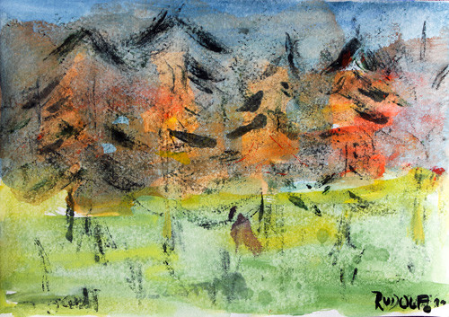 Murnau, Wald 1, 13 x 18, Aquarell