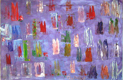 Menschenstadt 40 x 30 cm Öl auf Leinwand
