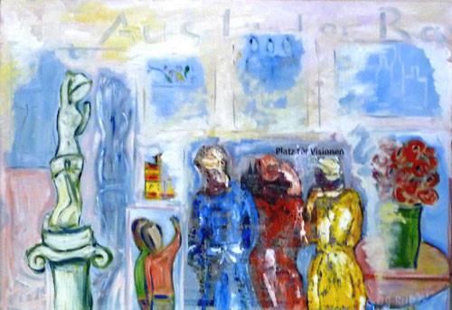 Menschen Platz für Visionen  90 x 70 cm Öl + Abdruck auf Leinwand