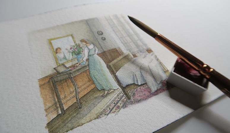 solitude, mamie, grand mère, chat, nourriture, cuisine, frigo, aquarelle, aquarelle miniature, miniature, dorothée piatek, vieillesse, vieille, vieux