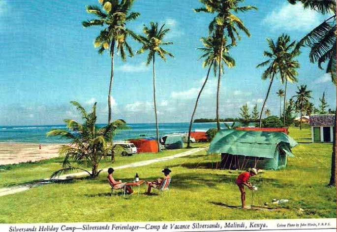 Silversand Holiday Camp Malindi. Campeggio pubblico nei primi anni 1970 fino alla 1990 in gran parte utilizzato da turisti domestici dell'entroterra. Costi quotidiani erano Kshs. 2/50 per tenda 50 centesimi a persona.