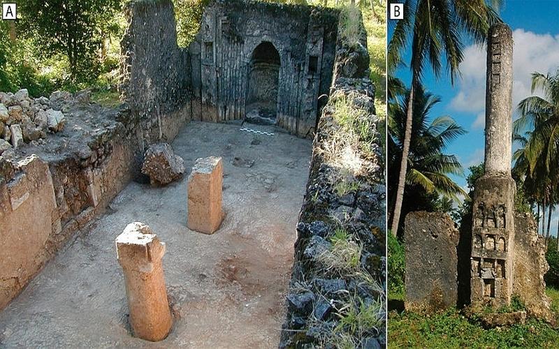 Rovine di Chwaka. Isola di Pemba, Tanzania. A)The Friday Mosque - B)The Pillar Tomb