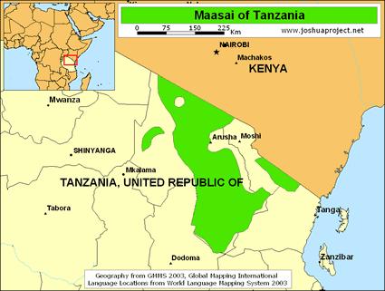 Maasai in Tanzania Mappa