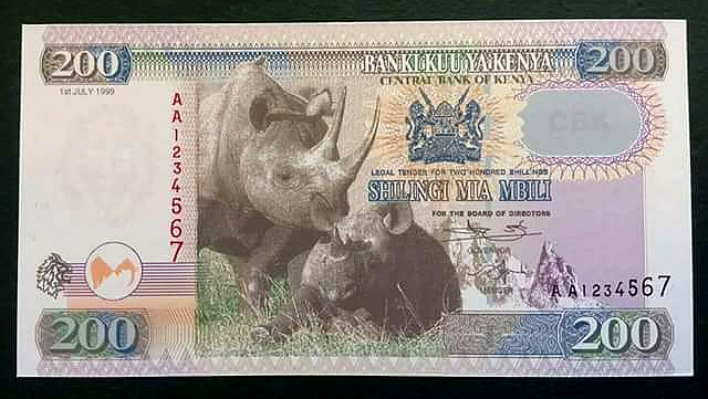 Nuova banconota del Kenya da 200 KShs