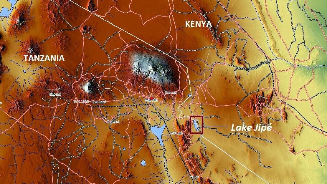 Lago Jipe Kenya. Mappa
