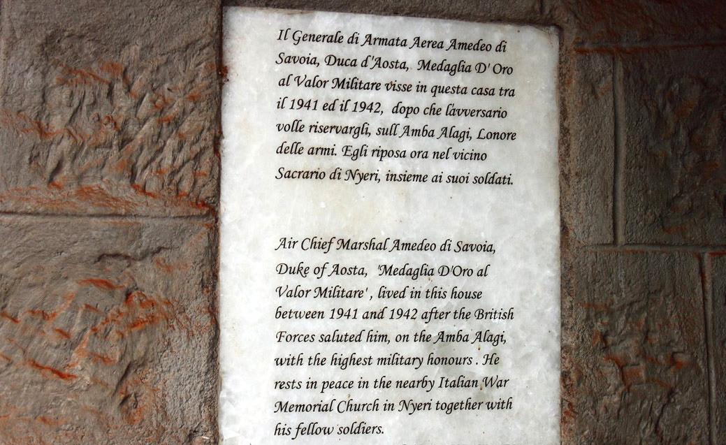 Castello MacMillan-Targa commemorativa Principe Amedeo di Savoia, Duca d'Aosta