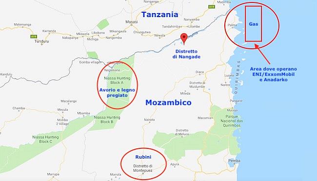 Mappa del Nord Mozambico con il distretto di Nangade e le aree strategiche