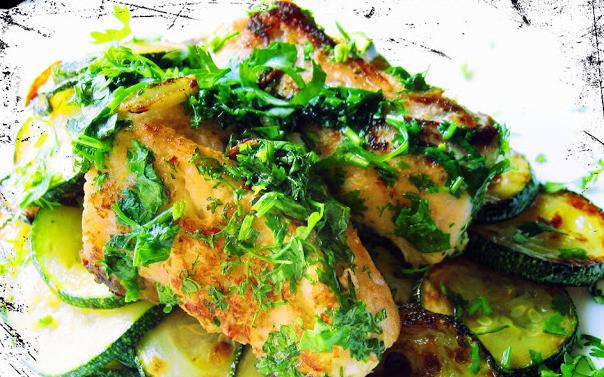 Red Snapper con zucchine e cilantro