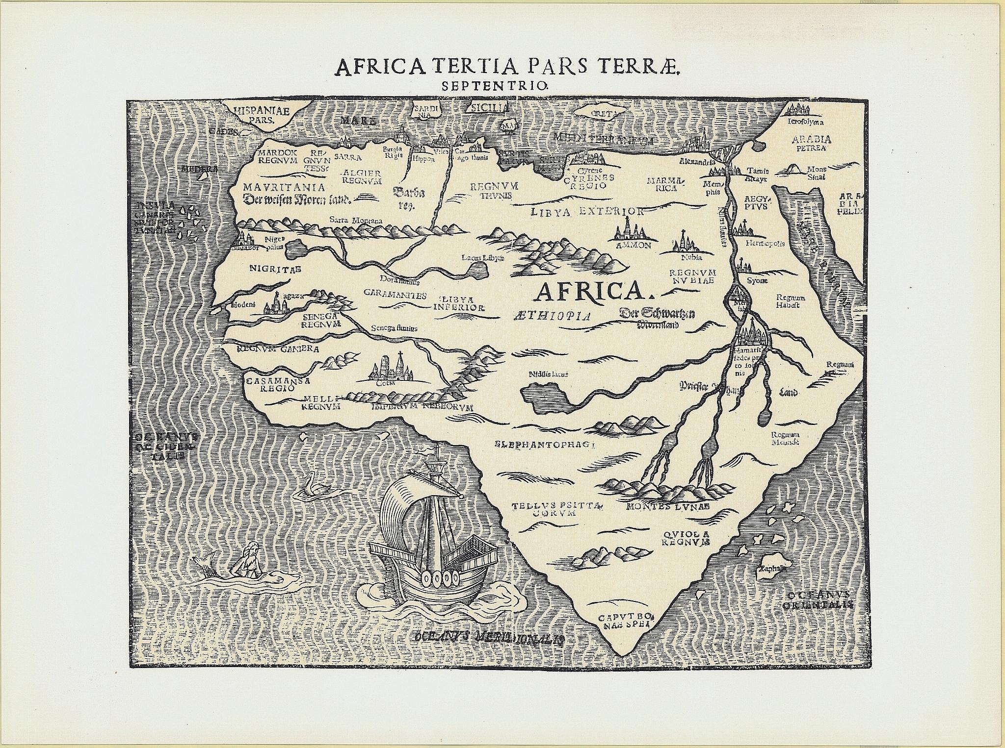 Mappa dell'Africa nel 16° secolo