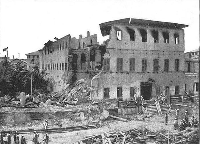 L'harem (Beit al-Hukum) dopo il bombardamento di Stone Town durante la guerra anglo-zanzibariana