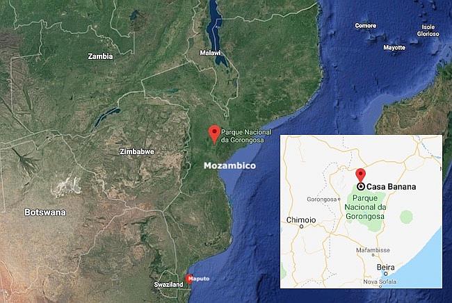 Mappa del Mozambico e il Parco nazionale di Gorongosa con Casa Banana