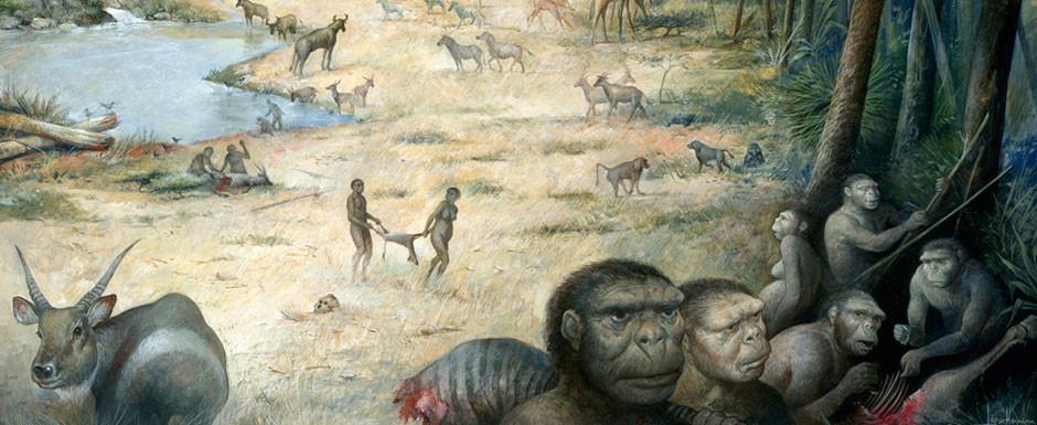 Rappresentazione della vita 3 milioni e mezzo di anni fa sulle sponde del lago oggi scomparso e attraversato dalla odierna gola di Olduvai