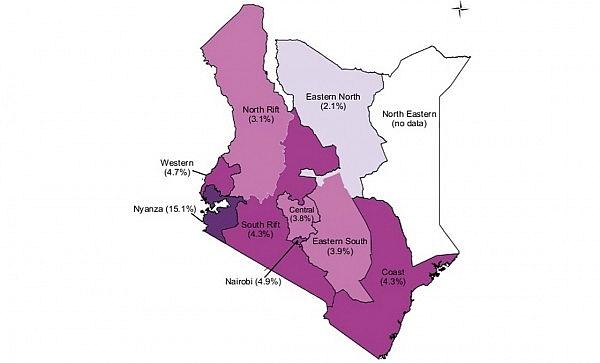 Aree di diffusione dell'HIV in Kenya