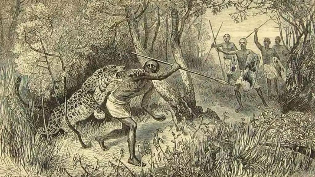 Caccia al leopardo. Stampa 1874