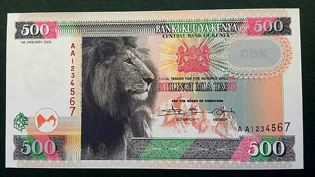 Nuova banconota del Kenya da 500 KShs