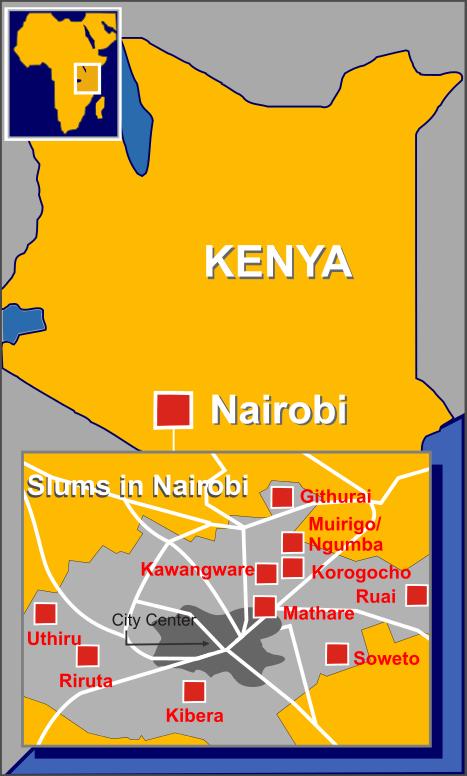 Mappa degli slum di Nairobi