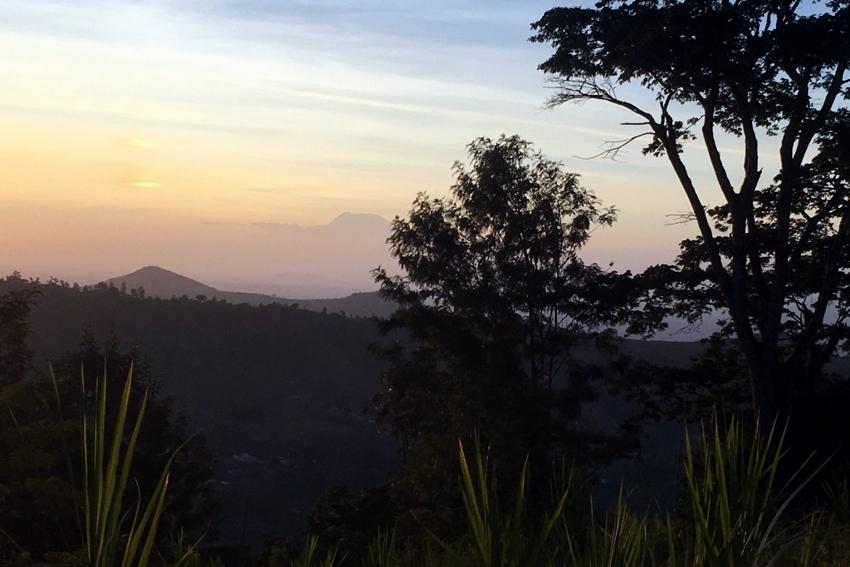 Mattina a Taita Hills con Kilimanjaro in lontananza.