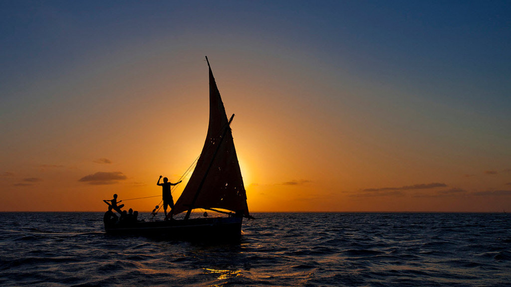 Manda Island. Dhow in sunset