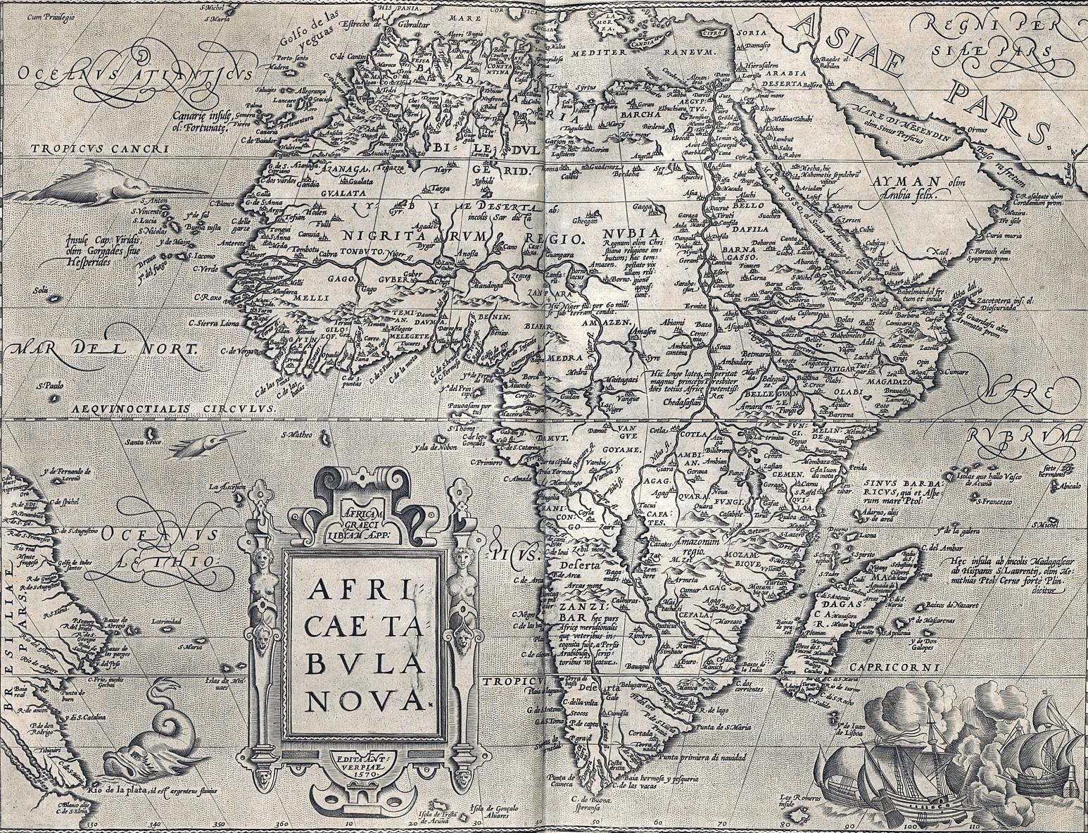 Mappa dell'Africa di Abraham Ortelius - 1601