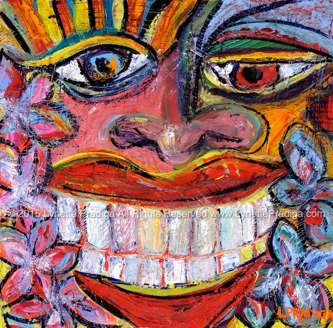 "WELCOME WAGON PELE - ""SHE'S SUPER HAPPY TO SEE YOU!!!!!!""   12"" X 12"" OIL ON WOOD PANEL -ORIGINAL $350.00,PRINTS, GICLEES, LIMITED EDITION ORIGINALLY ENHANCED AND REGULAR GALLERY WRAPS ARE AVAILABLE"