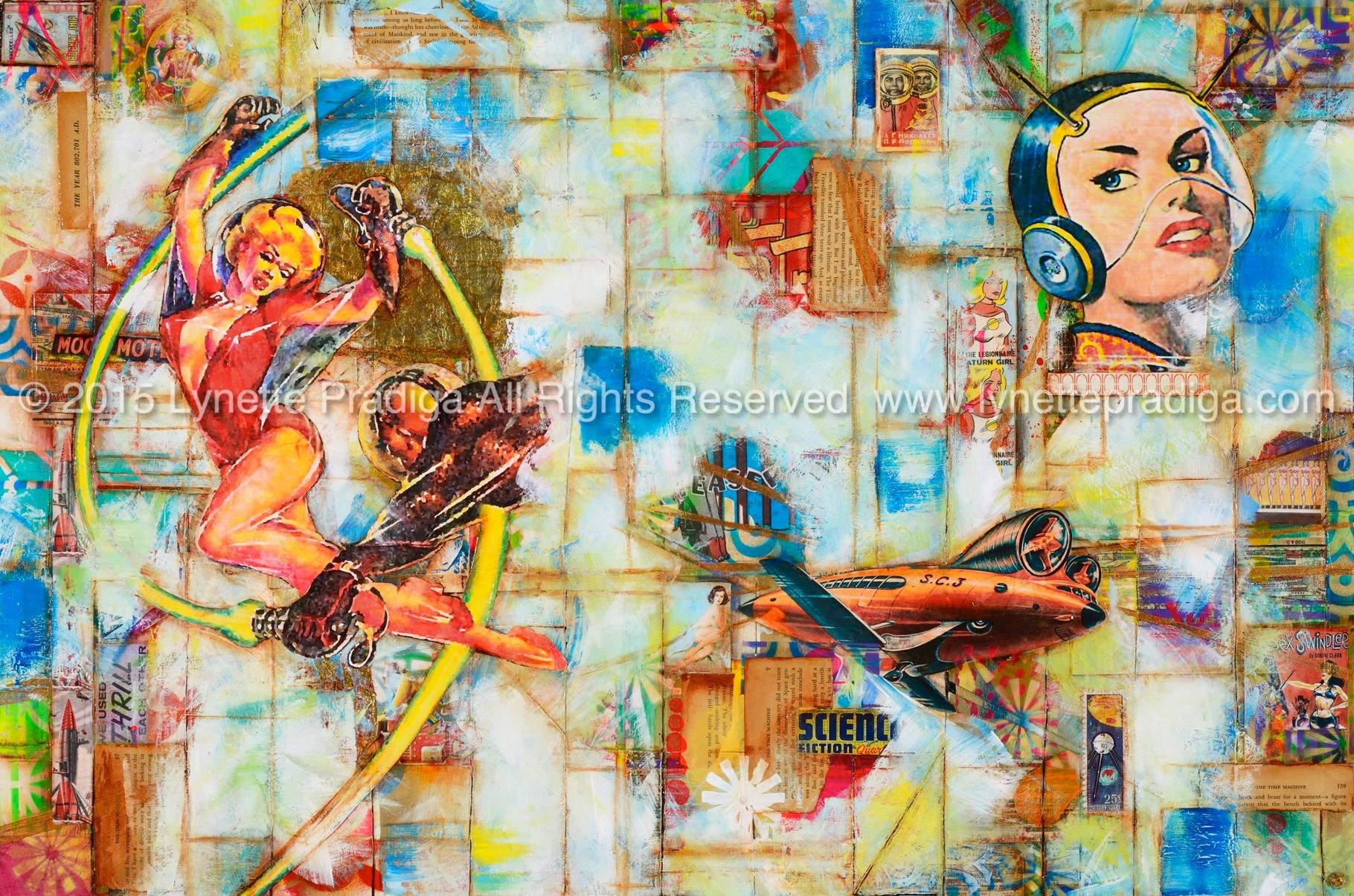 """Saturn Girls  -  24"""" x 36"""" x 2"""" Mixed Media, Krylon, Acrylic, Hand-made paper, the human genome & vintage snippets on tortured birch. /Original Available at the Enchantress Gallery by Bootzie in Wailea, Maui Hi"""