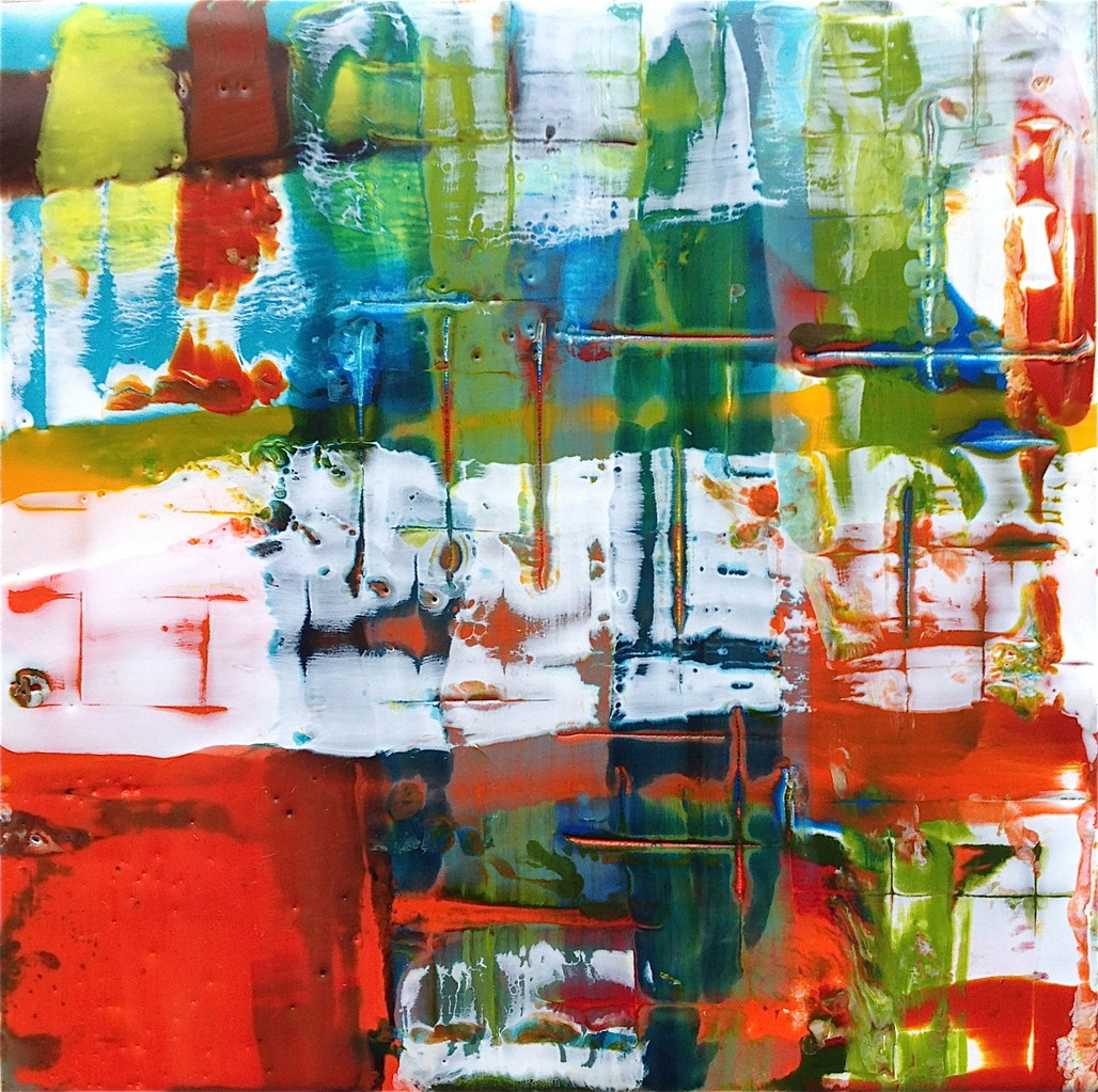 """THING # 2   - ENCAUSTIC ON BOARD 6.25"""" X 6.25""""    *SOLD"""