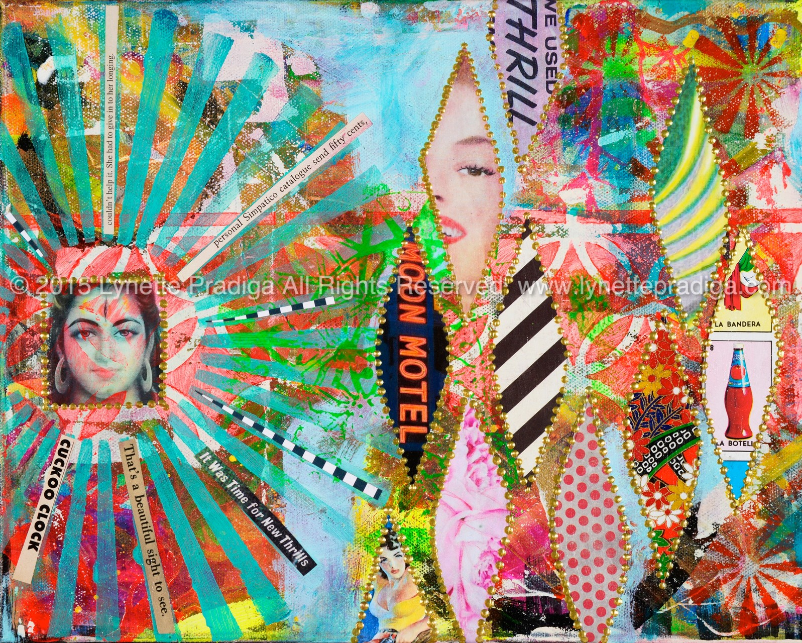 """Peepshow 1 -    24"""" x 30"""" x 2"""" Mixed Media, Krylon, Acrylic, Hand-made paper, irresistible curiosity, upholstery nails,& vintage snippets on canvas on board/ Original Available at the Enchantress Gallery by Bootzie in Wailea, Maui Hi"""