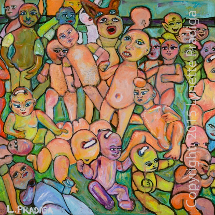 "BABY HEADS - 48"" X 48"" MIXED MEDIA OIL ON CANVAS -ORIGINAL, PRINTS, GICLEES, LIMITED EDITION ORIGINALLY ENHANCED AND REGULAR GALLERY WRAPS ARE AVAILABLE"