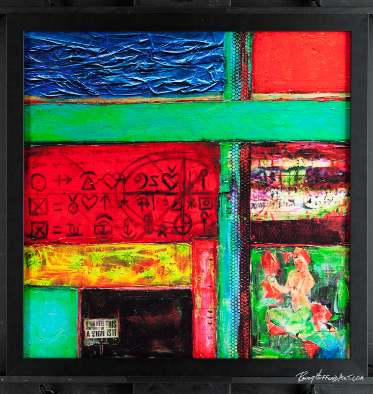 "The Happiness Equation - 24"" x 24"" Acrylic Mixed Media on Canvas w/ black frame"