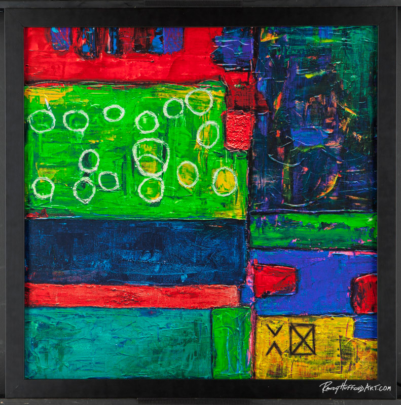 "Complete -24"" x 24"" Acrylic Mixed Media on Canvas w/ black frame"