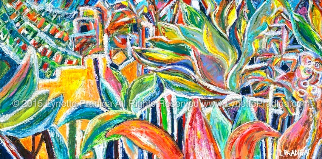 """BEHIND POLLI'S #1  OIL ON WOOD 24"""" X 48""""  ORIGINAL: $1900.00 / PRINTS, GICLEES, LIMITED EDITION ORIGINALLY ENHANCED AND REGULAR GALLERY WRAPS ARE AVAILABLE"""