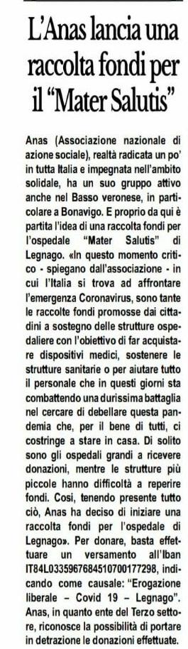 Dal giornale La Cronaca del Basso Veronese del 27.03.2020