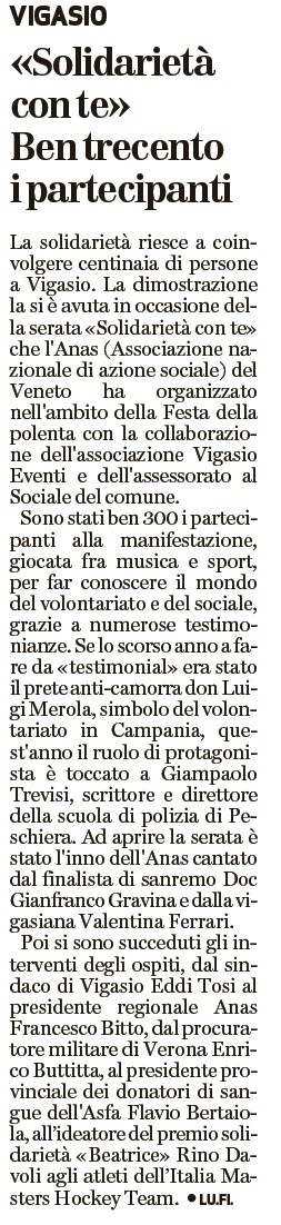 Dal quotidiano  l'Arena del 11/ 11 /2015