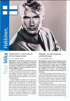 Biographie courte de Mika Hakkinen (pilote F1) pour un magazine grand public