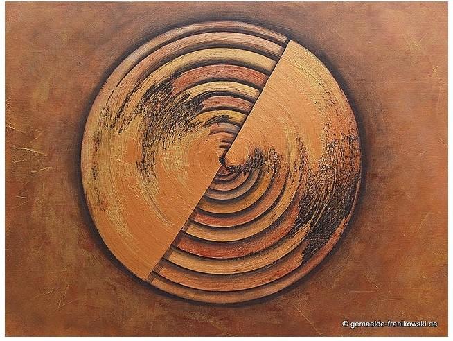 Abstraktes Acrylgemälde Jahresringe. Lichtreflexe entstehen durch die metallic Farben: Gold, Bronze und Kupfer. Größe: 80 x 60 x ca 4 cm, Jahr 2014, Preis: 560,-