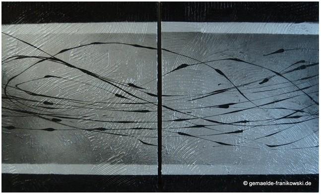 Abstraktes Acrylbild Silber, Größe: 2x 50x 60 x 2cm Jahr: 2011, Preis: 300€