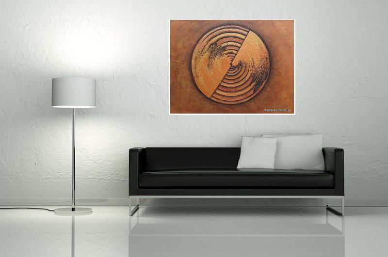 Astrakte Malerei in Rakeltechnik, Gold und Kupfer Metallic