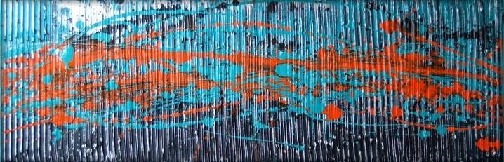 Abstraktes Acrylbild mit Rillenstruktur. Größe: 90x30 x 2cm, Preis: 200€