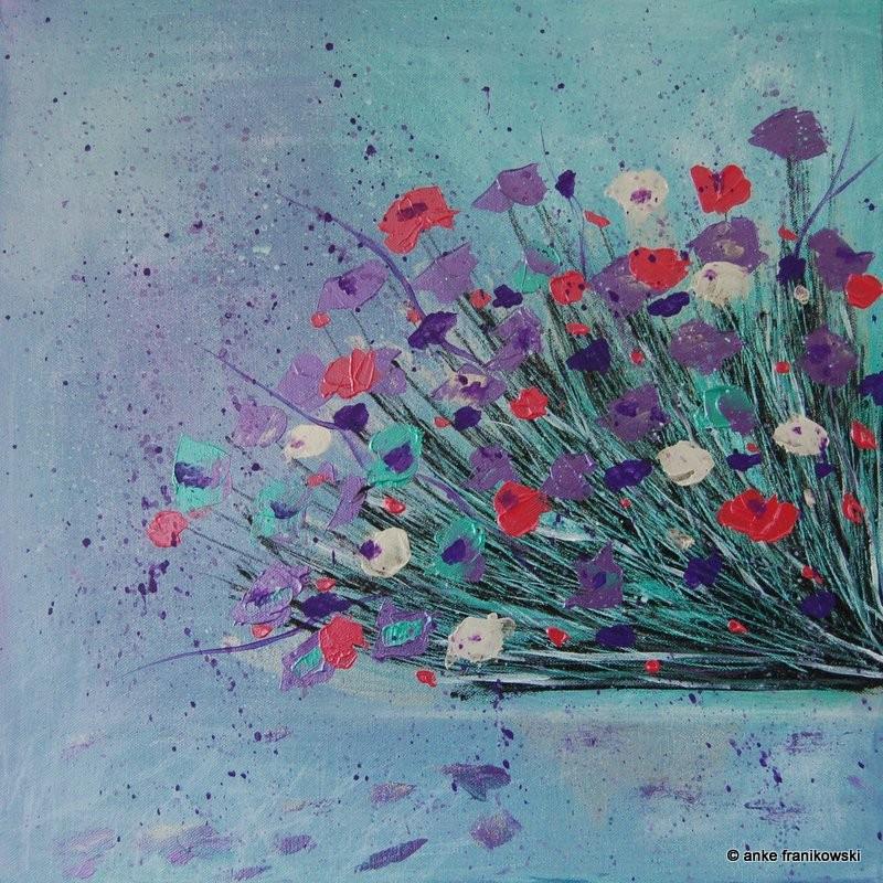 Acrylbild Blumen abstrakt, Größe 50 x 50 x ca 4 cm, Preis 400€, Jahr 2015