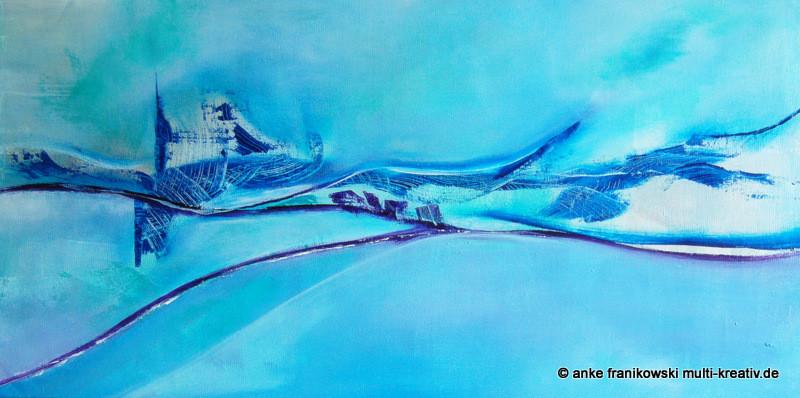 Acrylbild Blau Abstrakt. Größe 100 x 50 x ca 3,8cm.  Jahr 2015, Preis 600€