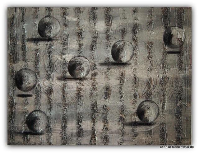 Acrylgemälde Struktur Abstrakt metallic Silber mit Kugeln. Größe: 80 x 60 x ca 4 cm, Jahr 2014, Preis: 560,-