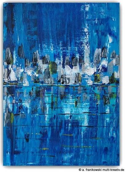 Acrylbild, Stadtgeflüster.  Abstraktes blaues Acrylbild mit Struktur in Spachtetechnik. Größe: 50cm x 70cm x 2cm.  Preis 480,-